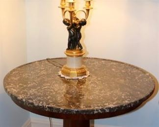 Marble topped Neoclassical drum table