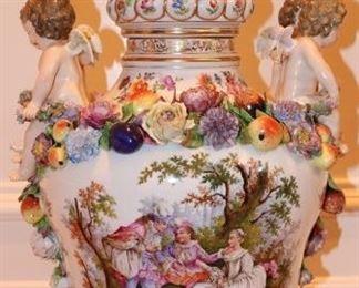 "Large 19th c. Carl Thieme porcelain urn, 28"""