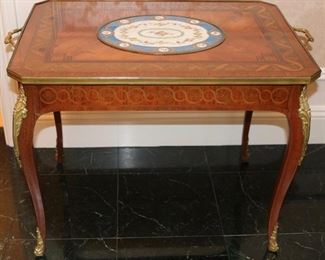 French bronze  mounted marquetry cocktail table w/ Sevres porcelain inset
