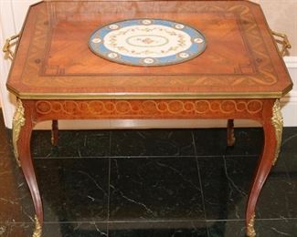 French bronze dore mounted marquetry cocktail table w/ Sevres porcelain inset