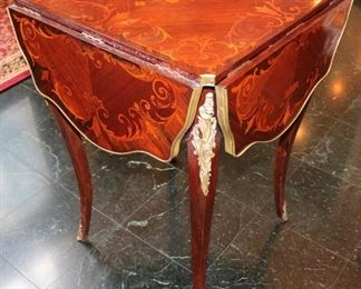 French bronze dore mounted marquetry accent table