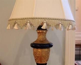 French cobalt, bronze dore marble-mounted lamp w/ fringed silk shade