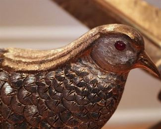 Pair beautiful Sterling & Gilt Sterling Pheasants by Tane, with mounted ruby eyes