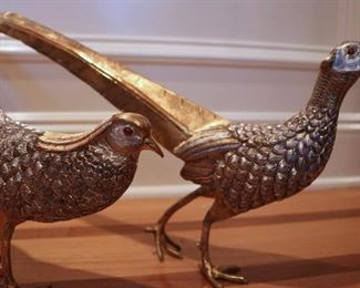 Pair beautiful Sterling & Gilt Sterling Pheasants by Tane, with mounted ruby eyes, over 140 troys ounces sterling silver