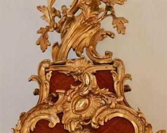 19th c.  Rococo Bronze Dore Mantel Clock after Alexandre Le Faucheur (d. 1773)