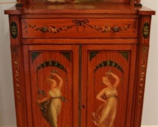Magnificent period Edwardian painted satinwood cabinet