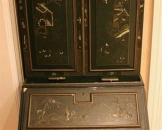 Diminutive Maitland Smith  lacquered Chinoiserie cabinet