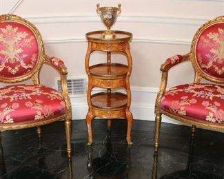 Bronze mounted Sevres vase, Antique custom upholstered fauteuils