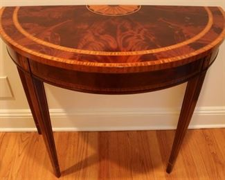 Inlaid demi-lune table