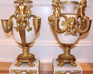 Pair French Rococo Bronze , marble-mounted porcelain urns