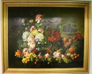 "Large Dutch-style still life, signed ""L. Jenkins"", 56""x60"""