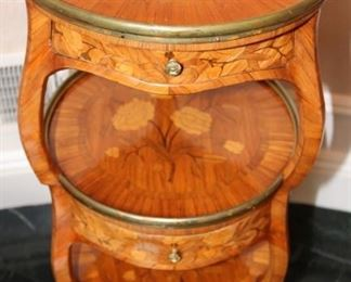Italian brass mounted Three tiered fruitwood marquetry table