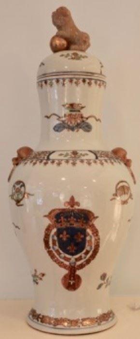 Pair of large Antique armorial export porcelain lidded vase