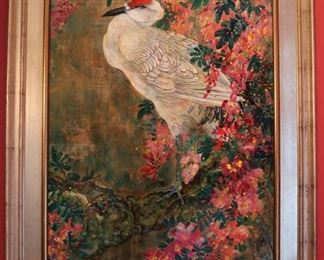 Large signed Chinese oil painting, silver gilt frame