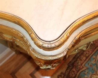 Italian giltwood and gesso marble-topped bombe commode(s)