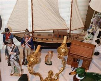 Decoys, Ship Models & pair Gilt Sconces