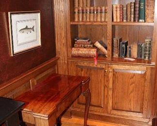 Antique Irish Game Table, Fish Artwork, Antique Books