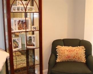 Curio Cabinet, Swivel Upholstered Chair, Christmas Village