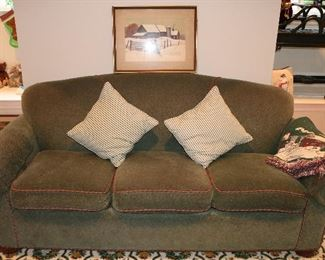 Three Seat Green Sofa with Red Piping