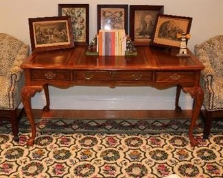 Leathertop Desk and Pair of Leopard upholsteredChairs on casters, Currier & Ives