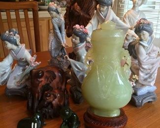 Lladro figurines, carved jade vase