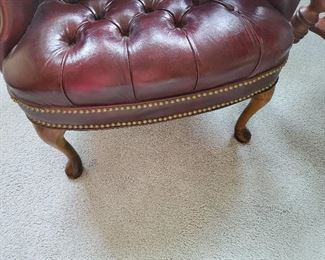 """Leather Chair with Buttoned Seams 28"""" W x 27"""" D x 38"""" T"""
