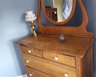 """Four Drawer Oak Dresser with Mirror 38"""" W x 17"""" D x 66.5"""" T"""