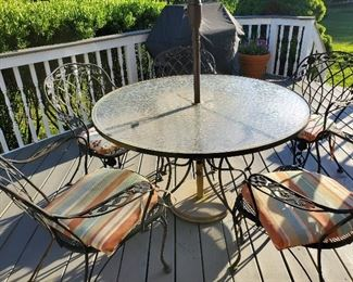 "Round Glass Top Table and Chairs 48"" round x 28"" T"