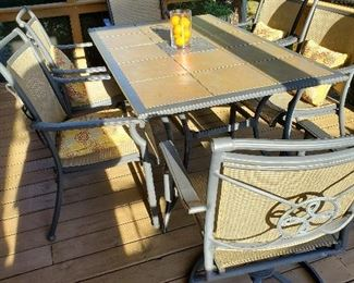 "Inlaid Tile Patio Table with Six Chairs 64"" L x 40"" W x 28"" T"