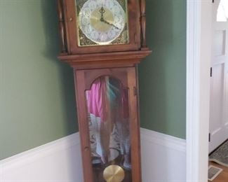 "Seth Thomas Grandfather Clock 16.5"" W x 9"" D x 76"" T"