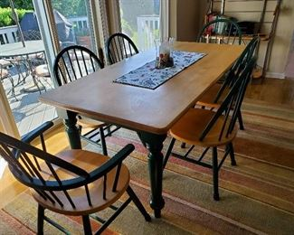"""Pine Farm Table with six chairs 72"""" L x 36"""" W x 29.5"""" T"""