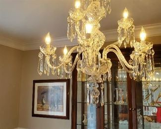 "Beautiful Waterford  9 Arm Double Tier Chandelier - 30""H X 28""W"