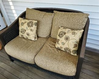 "Patio World Wicker Indoor Outdoor Deck Furniture Love Seat 49"" W x 36"" D x 32"" T"