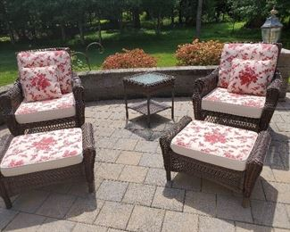 """Matching Chairs with Ottomans - Chair 34"""" W x 32"""" D x 38"""" T Ottoman 31"""" W x 20"""" D x 16"""" T"""