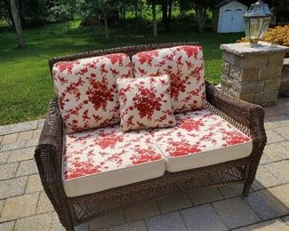 """Outside Wicker set by GBC Manufacture Love seat with Upholstered Cushions 55"""" W x 34"""" D x 38"""" T"""