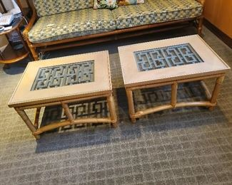 "Rattan Inlayed Glass Top Tables each 26"" W x 20"" D x 16"" T"