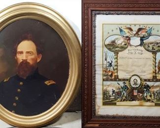 Militaria -Civil War Quartermaster Officer John Gray Painting and Colorful GAR Document describing his service and rank in detail