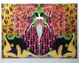 Jean-Francois Ibos Art Bleeding Heart Spirit Silk Screen Serigraph