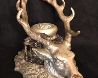 antique stag inkwell