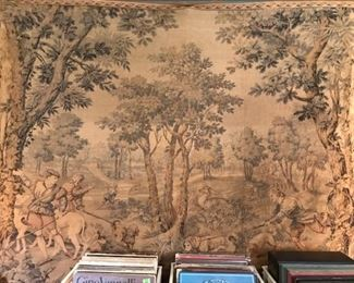 antique hunt tapestry approx 5' x 5'