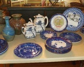 Flow blue historical plates