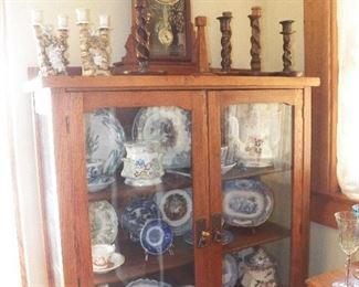 Oak china cabinet Barley twist candlesticks Walnut clock Waterbury