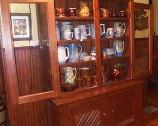 Pine stepback cupboard Flemish ware  Blu &white stoneware