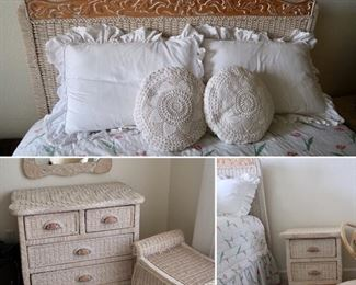 Cute Wicker Bedroom Set- Full Bed, Dresser, Mirror and Night Stand
