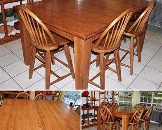 Bar Height Dining Table w/Leaf & 6 Chairs (shown inserted in Picture)