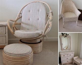 Rattan Swivel Chair and Ottoman.  Nice Wicker Chair