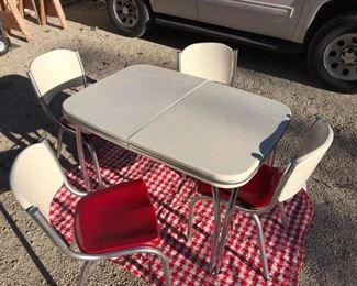 AFTER Refinish table chairs complete with leaf insert, This set also has a grandmother's step stool and metal tea cart refinished to match table and chairs or separate