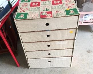 Vintage Organizer filled with Shiney Brite ornaments, RARE, Color wheel for silver Christmas Tree, Beautiful White Ceramic Christmas tree with Red Bulbs