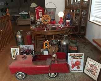 1950's Chief's Pedal car, still has the bell & siren,Lanterns with ruby red globes, Fire Extinguishers, Vintage signs and Prints, Cast Iron horse drawn wagon
