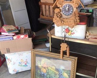 Koo Koo clock, great vintage fruit display framed